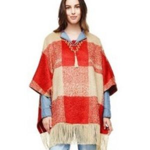 Adam Lippes For Target Mohair Fringe Poncho Red SM